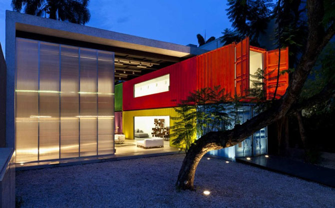 shipping container house outside