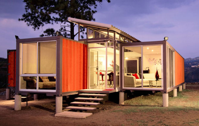well lit interior of container home