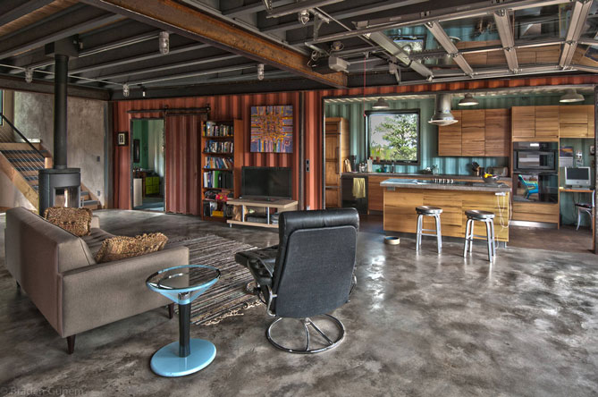 wooden interior of container home