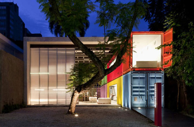 shipping container house outside and inside