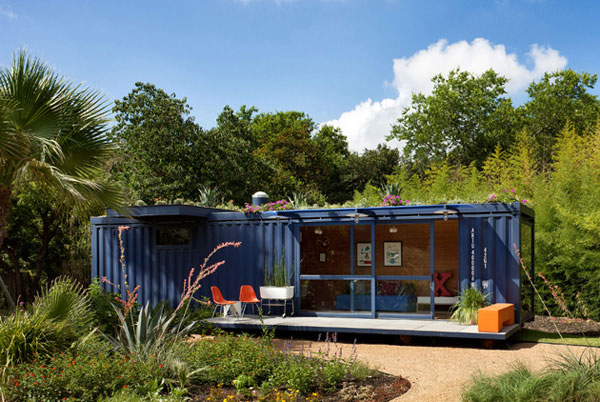 blue container home front of property
