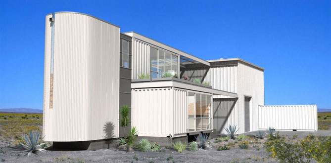 shipping container house white exterior
