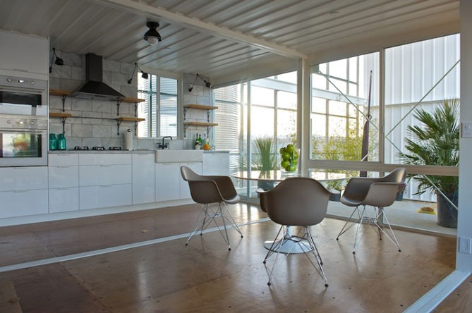 shipping container house kitchen