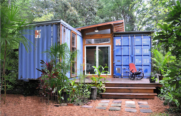 shipping container house front