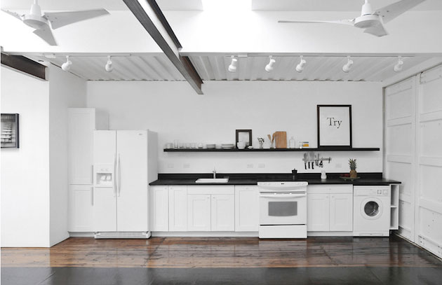 shipping container house white kitchen