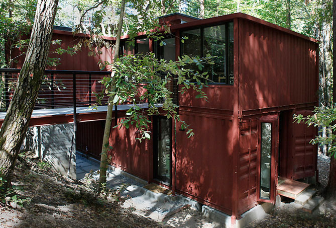 shipping container house front of property