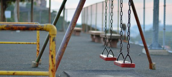 Swing set in the playground