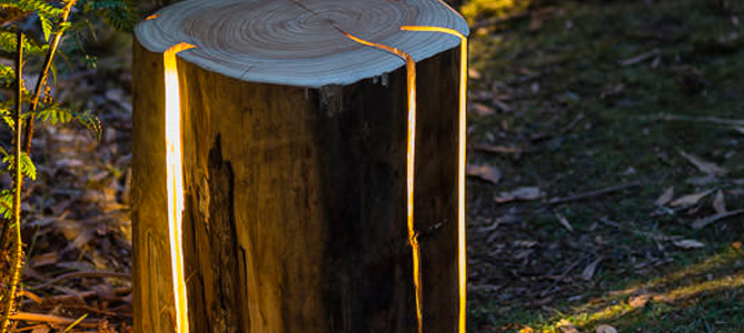 Cracked Log Lamps - Garden Ideas for Summer