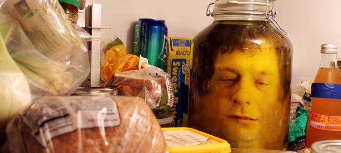 Fake Head In A Bottle Halloween Prop