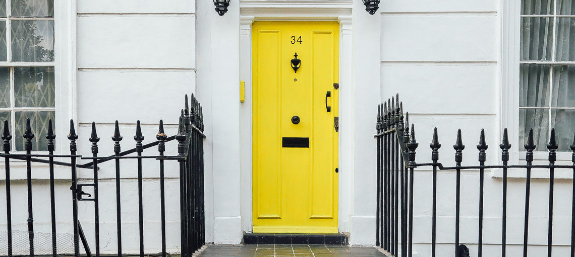 Front of home and yellow door